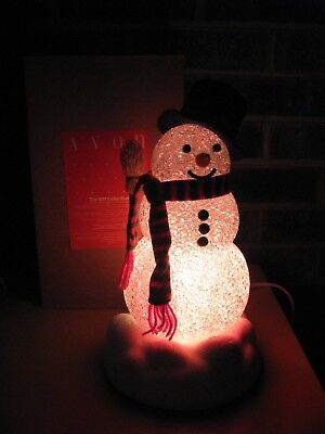Vintage CHILLY SAM LIGHT UP SNOWMAN Works With Broom Box Nice Condition