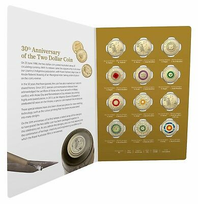 2018 $2 Twelve Coin Coloured Uncirculated Set 30th Anniversary RED POPPY