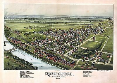 pa166 Antique old map PENNSYLVANIA genealogy family history ROYERSFORD 1893