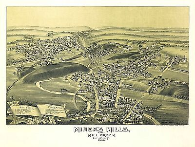 pa105 Antique old map PENNSYLVANIA genealogy history MINERS MILLS CREEK 1892