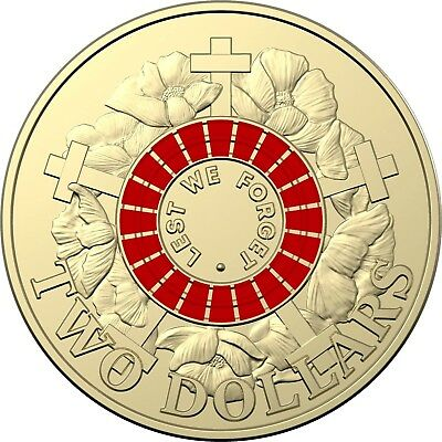 2018 $2 30th Anniversary RED ANZAC same as 2015 but 2018 date on Obverse