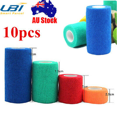 AU 10PCS Pet Dog Cat Wound Vet Cohesive Bandage Self Adherent Animals Wrap Tape