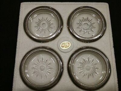 Vintage Crystal And Silver Coaster Ashtray Set of 4 ,Leonard Silver plate, Italy