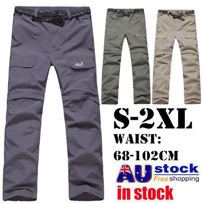 AU STOCK Mens Two Parts Quick Drying Trousers Pants Motorcycle Fishing Hiking