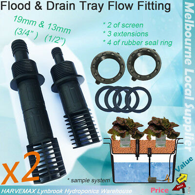 2 Sets Flood Drain System Fitting Kits 13mm & 19mm Tub Outlet Screen Extensions