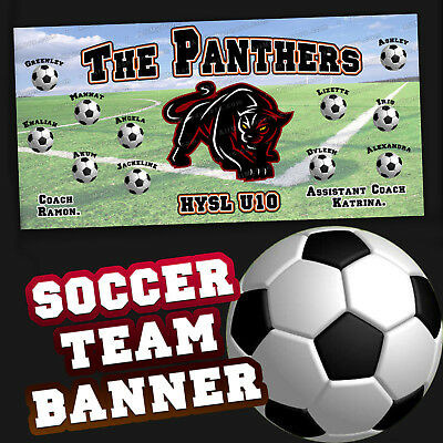 Soccer Team Custom Banner Personalized image, text, logos etc 3x6 ft -THM