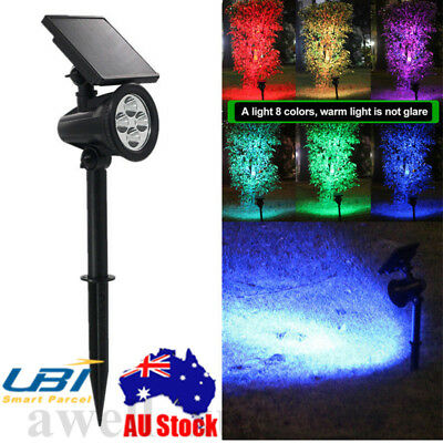 Outdoor Solar Power Color Changing Garden Lights LED Post Pathway Lawn Lighting
