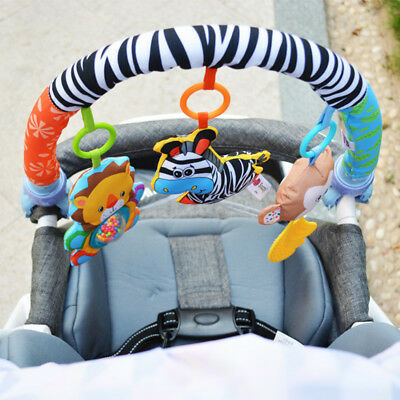 Kid Baby Rattle Crib Cot Pram Bed Stroller Hanging Toys Cartoon Animal Doll AU