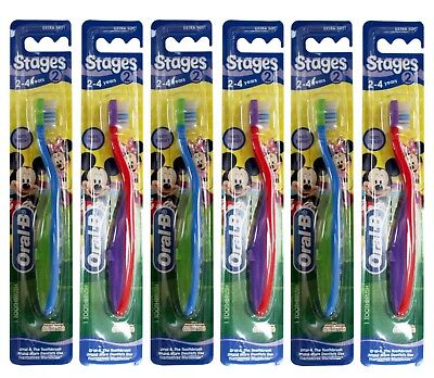 6 x ORAL B TOOTHBRUSH STAGES 2 EXTRA SOFT ASSTD MICKEY MOUSE CLUBHOUSE