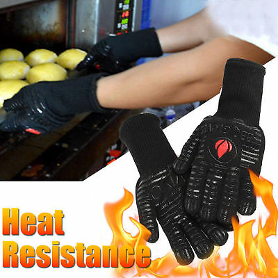 1 pair BBQ Heat Resistant 500℉ Silicone Oven Cooking Grilling Mitt Gloves AU
