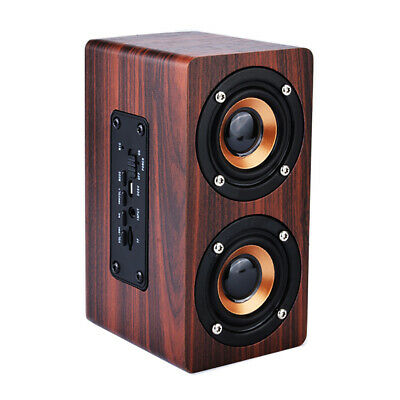 Wooden Portable Wireless Bluetooth 2 Speaker Subwoofer 3D Surround Hifi Stereo