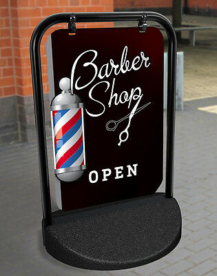 BARBER SHOP PAVEMENT SIGN, ADVERTISING SHOP DISPLAY Hairdressing, A Board,