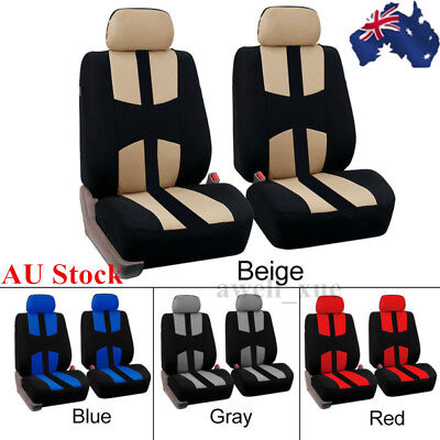 2Pcs Universal Car Auto Front Seat Covers Full Set Head Rest For SUV Truck Van
