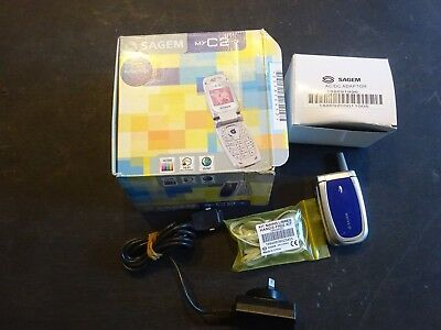 Sagem Myc2-3 Flip Phone With Charger & Hands Free Kit- No Battery Holding Clip