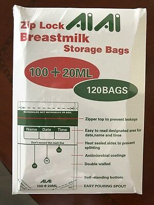 Sterilised BPA-free breastmilk Baby Breast Milk or Food purée Storage Bags 120