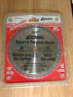 """(2) 8""""Milwaukee•42Tooth Dry Cut Cermet Tipped Metal Cutting Saw Blade 48-40-4515"""