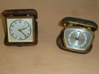 Two vintage travel clocks for spares Europa & Schatz