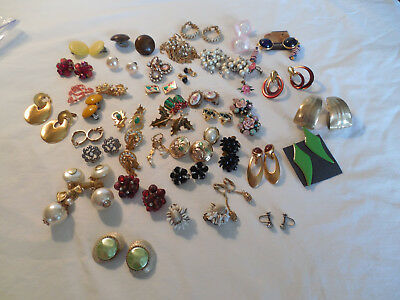 Large lot group of 40 clip on, screw back earrings, Vintage & pre owned pieces