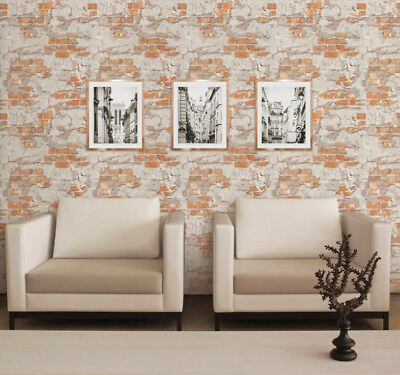 Red Brick rustic Gray plaster Wallpaper Textured 3D wall coverings double rolls