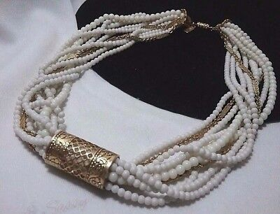 Vintage Gold 1928 White Seed Bead Multi Chain Gold Filigree Bar Style Necklace