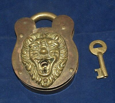 Antique Victorian Brass Figural Lion Animal Padlock Lock With Key Patented 1896