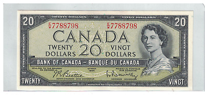 1954 Bank of  Canada $20 Dollar Note E/W Beattie/Rasminsky