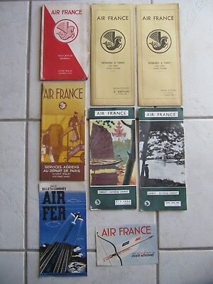 AIR FRANCE 9 timetables brochures 1936-37 Extreme Orient