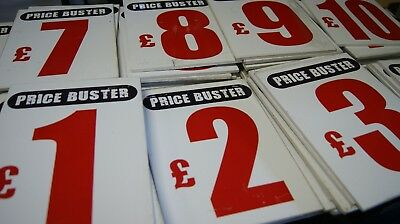 "JOB LOT X 70 PRICE SIGNS SHOP MARKET STALL PRICING SIGN HEAVY DUTY 12"" x 8.5"" PL"