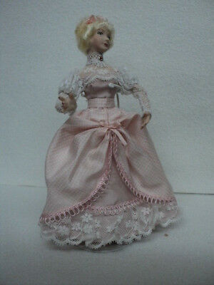 Dollhouse Doll- Handmade Porcelain- Victorian Blonde Lady