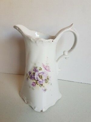 Vintage Porcelain China Jug Pitcher with Handle Floral 7Inches Tall