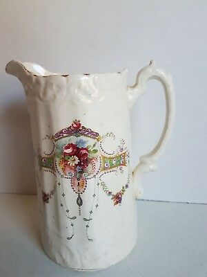 Vintage Pottery  China Jug Pitcher with Handle Floral 7.2 Inches Tall