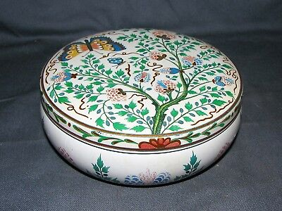 """Vintage Meister Floral & Butterfly Candy Tin 5 1/4"""" Diameter - Brazil"""
