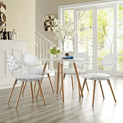 Pleasing Contemporary Modern Wire Dining Chairs W Faux Leather Seat Uwap Interior Chair Design Uwaporg