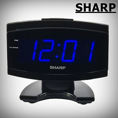 LED Alarm Clock Large Display Digital Electric Snooze Home Desk Watch Black