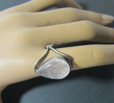 TRUE  Vintage STERLING SILVER   Rose Quartz Gemstone RING UNIQUE SETTING