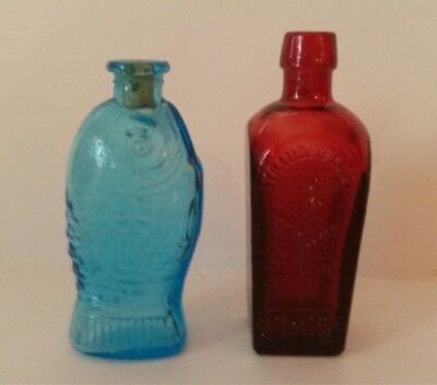 Vintage Miniature Wheaton Bottles Blue Fisch's Bitters Red Straubmullers Elixir