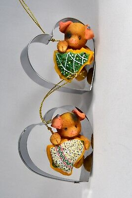 Enesco This Little Piggy Season's Eatings Cookie Cutter Ornaments Set of 2 -1997