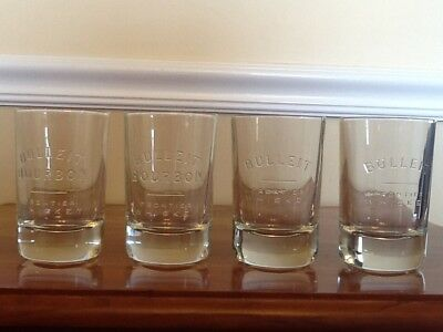 Lot of 4 Branded Oval Glasses 2 Bulleit & 2 Bulleit Bourbon Frontier Whiskey