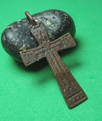 Ancient Bronze Cross Wearable Pendant Antique Rare C17