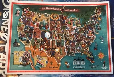 Disney world epcot american adventure map art postcard new in hand disney world epcot american adventure map art postcard new in hand gumiabroncs Image collections