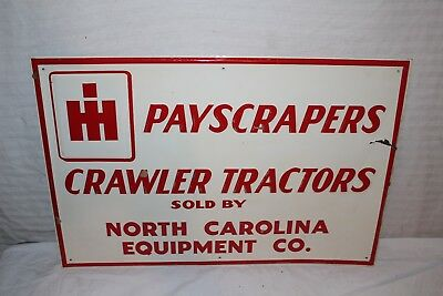 "Vintage 1950s IH International Harvester Crawler Tractor 24"" Embossed Metal Sign"
