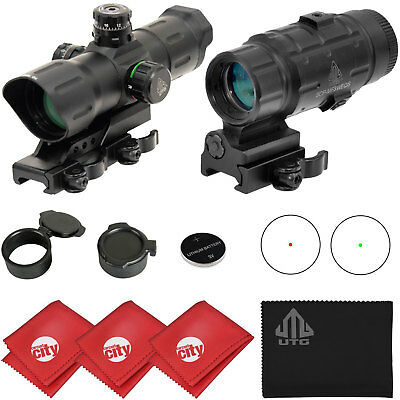 """UTG 6"""" Red Dot Sight (SCP-TDTDQ) + 3x Flip to Side Magnifier (SCP-MF3WEQS) Combo"""
