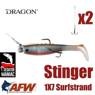 Dragon fishing stinger. AFW wire. Lure,predator trace, 2pcs. 1x7 surfstrand,cast