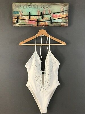 198d4702a0f45 Luli Fama Frosted Crystal Deep V Cheeky Swimsuit One Piece Sz S NWT $225