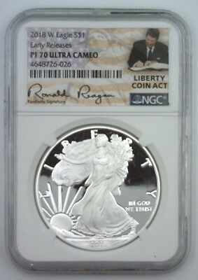 2018-W NGC PF70 PROOF Silver Eagle  EARLY RELEASES REAGAN LCA Label ~ LIVE ~