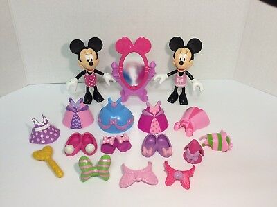 Disney Minnie Mouse Bow Tique Dress Up Doll Lot Snap On