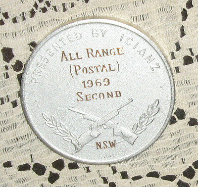 Australian Small Bore Rifle Association Medal 1969 2 1/4 Inches Across Nice