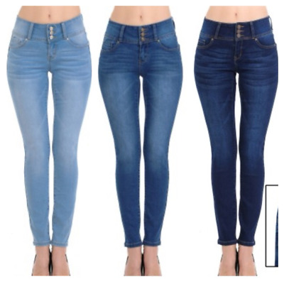 Wax Women's Push-Up 3 Button Skinny True Stretch Jean BUTT I LOVE!!(SIZE 0-13)