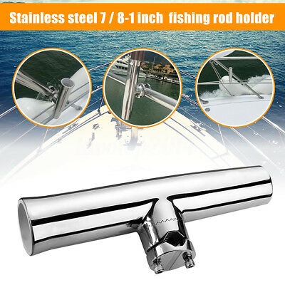 "316L Stainless Steel Fishing Rod Holder Boat Tackle Clamp On Rail Mount 7/8"" 1"""