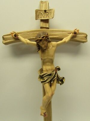 """15"""" Barock Wooden Crucifix - Oberammergau, Germany, Wood, Hand Carved Painted"""